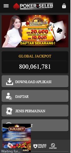 tampilan situs Pokerseleb